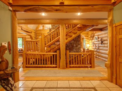 Log stairs, up and down.