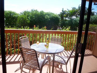 Covered part of lanai is perfect for coffee in the morning or drinks later