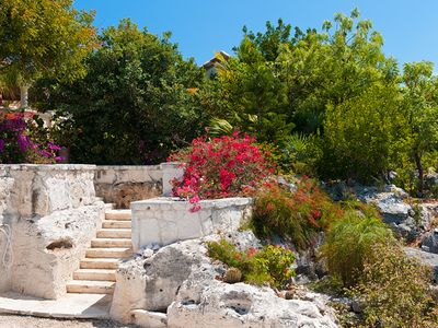 The stone steps from the parking area lead to your new holiday adventure!