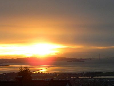 A typical sunset from the cottage. The Bay, the Golden Gate Bridge to the right.