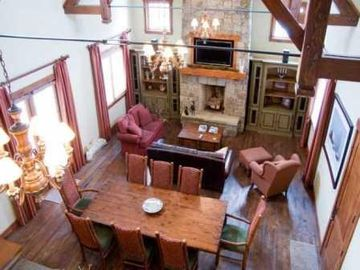 Great Room from balcony~Wood-Burning fireplace~Trestle Table seats 10
