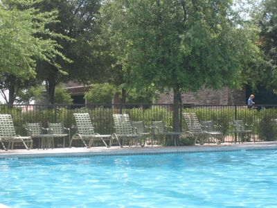 always plenty of lounge chairs available at pool, tables&chairs also