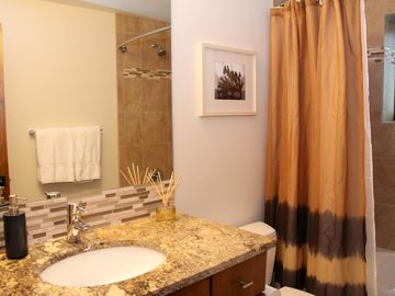Bathroom #5 has a bath with shower, toilet and a vanity with a granite counter