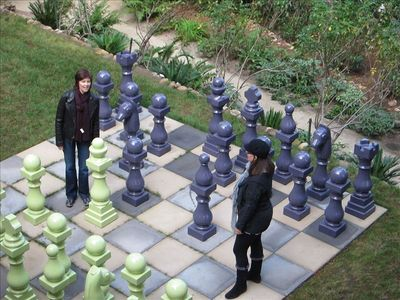 Garden with new giant chess set