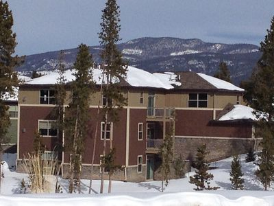 The back of our building from our private sledding hill!