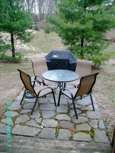 Flagstone patio with brand new Weber Genesis Gas Grill perfect outdoor living!