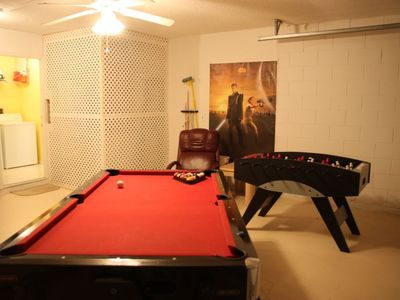 Pool table, air hockey, foosball and darts