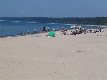 Enjoy Lake Michigan's beautiful white sand beaches.