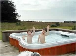 Grant and Garret, 4 and 6, Orson's furry head, 9,  enjoy the hot tub and view.