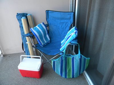 Beach chairs, mats, cooler, towels, beach bag