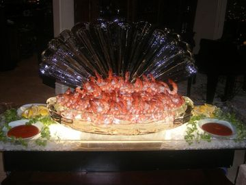 Shell ice sculpture with Shrimp from the caterer-Delicious!!!
