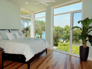 Lakeway estate photo - Master Bedroom with Balcony and Outstanding Views. King Size Bed.