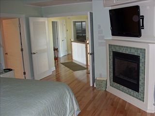 Virginia Beach house photo - Master TV w/theater sound & gas FP- Off hall:Bunk Rm & N.Br Suite