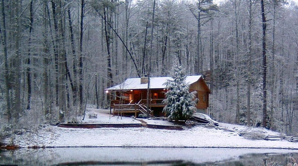 Image result for log cabin winter lake mountains
