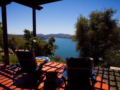 Pool side overlooking Lake Melones