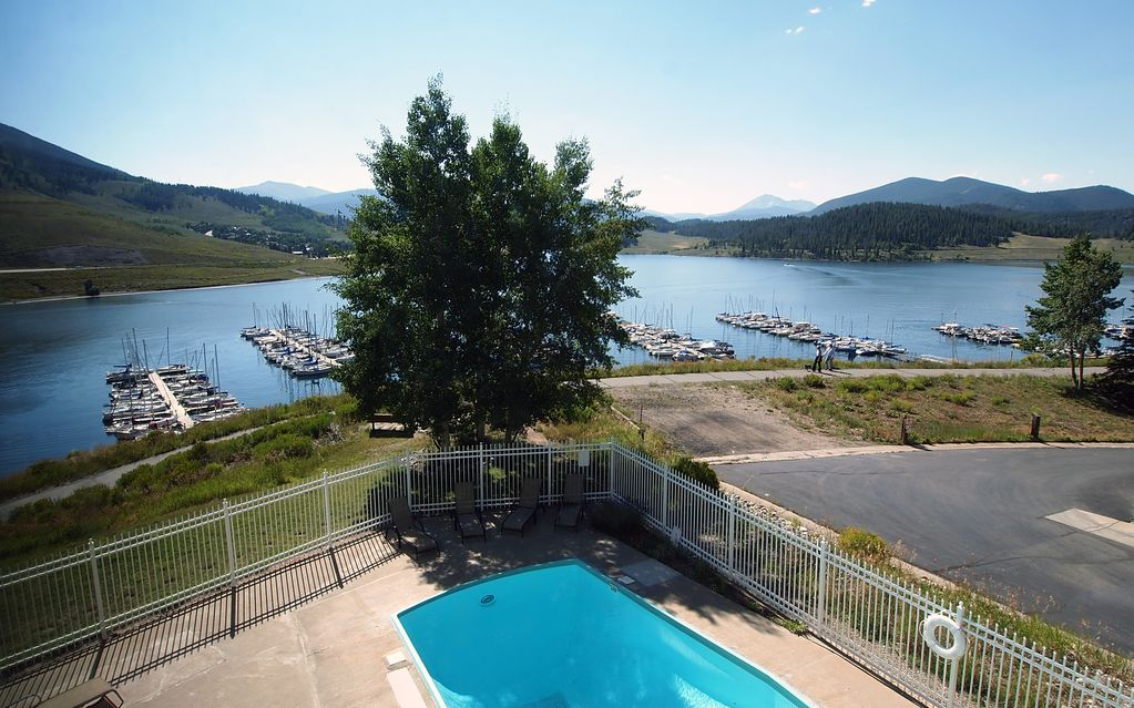 The Pool overlooks Lake Dillon with a nice view of the Marina and Swan Mountain.