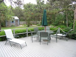 Eastham house photo - Large Deck and Backyard off of Kitchen