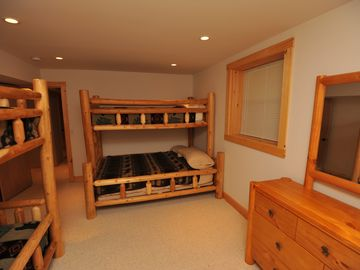 1st Lower level bedroom with bunks, sleeps 5.
