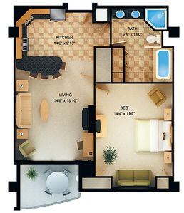 Floorplan...1 & 2 bedroom rooms are available.