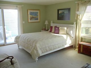 Middletown house photo - Bedroom with queen bed and private deck