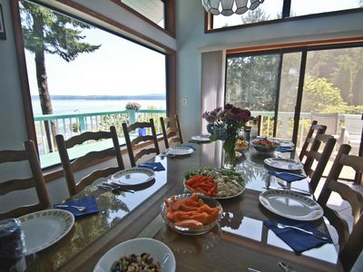 Oak table seats 10 people comfortably includes fantastic view of Hood Canal.
