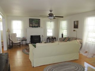 Manteo house photo - Living Room with wood stove and lots of light
