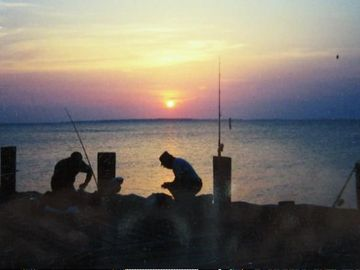Local fishing at sunset.
