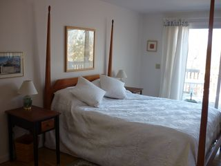 Hyannis - Hyannisport house photo - Master Bedroom on first floor with 2 attached sinks and separate bath/shower