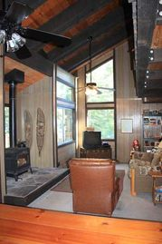 Chambers Lodge cabin rental - living room with high ceilings and big winodws