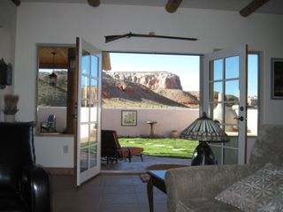 Bluff house photo - View of bluffs from living room.