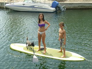 Islamorada house photo - Paddleboarding in the canal-Toto is doing a fine job!!