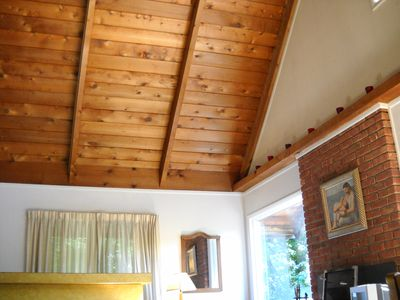 Cathedral ceilings in living/dining great room offer spacious, warm setting.