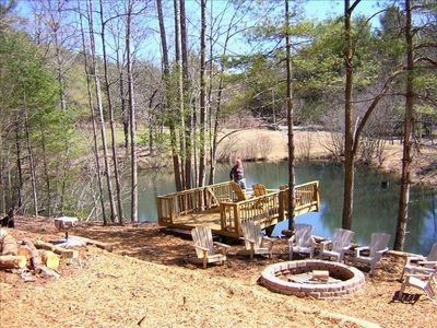 Private fishing pond, cantelevered deck and fire pit