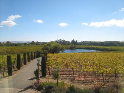View to Lago de Carneros from the front porch of Casa Carneros.