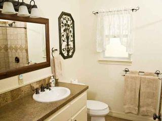 Waco house photo - The bathroom with the Suite. There is a spacious tiled shower as well.