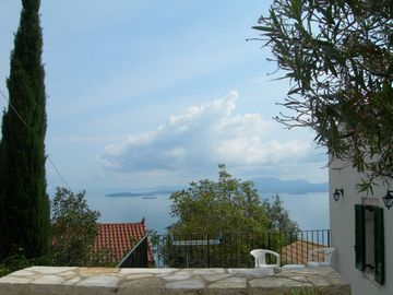 View from the Olive Press, Corfu town and Albania
