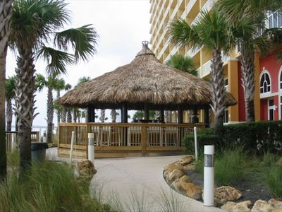 Calypso's new Tiki Bar located between the 2 pools overlooking the beach