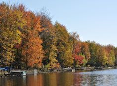 Big Bass Lake house rental - Fall foliage by the lake