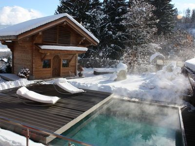 Mazot 2/4 people classified 3 * view Mont Blanc with a heated swimming pool even in winter!