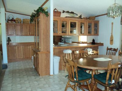 Winter house rental - Table extends for plenty of seating for card games.