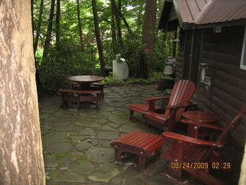 Stone patio behind Cottage