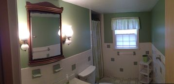 Large 3/4 bath upstairs.