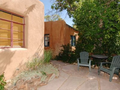 Santa Fe cottage rental - Front Yard Area, Fenced and Private