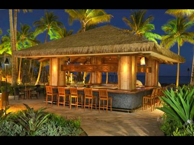 On property beach bar now with local Hawaiian entertainment.