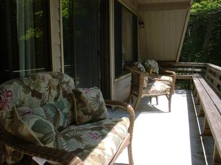 Somesville chalet photo - Private Upper Deck. Faces South (Small deck on lower level)