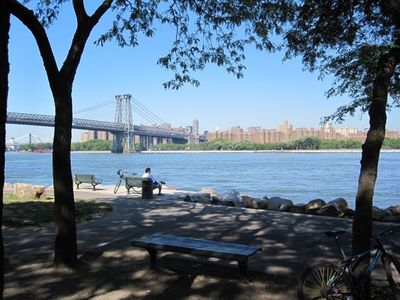 Just one of the parks along East River--views, ferry, flea markets, promenade