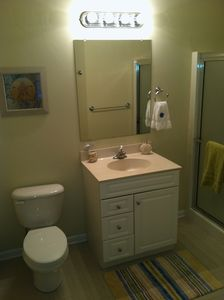 Rehoboth Beach condo rental - A nice sized bathroom oversized shower in the Master Bedroom