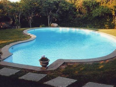 20 x 40 ft heated pool with surrounding gardens
