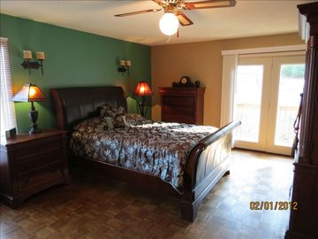 Master bedroom with queen bed, 2 closets, tv/dvd, deck, great view of cove