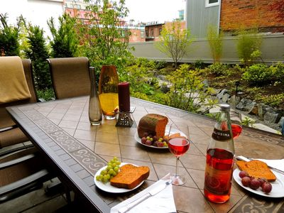Dine on your own private terrace while overlooking the courtyard